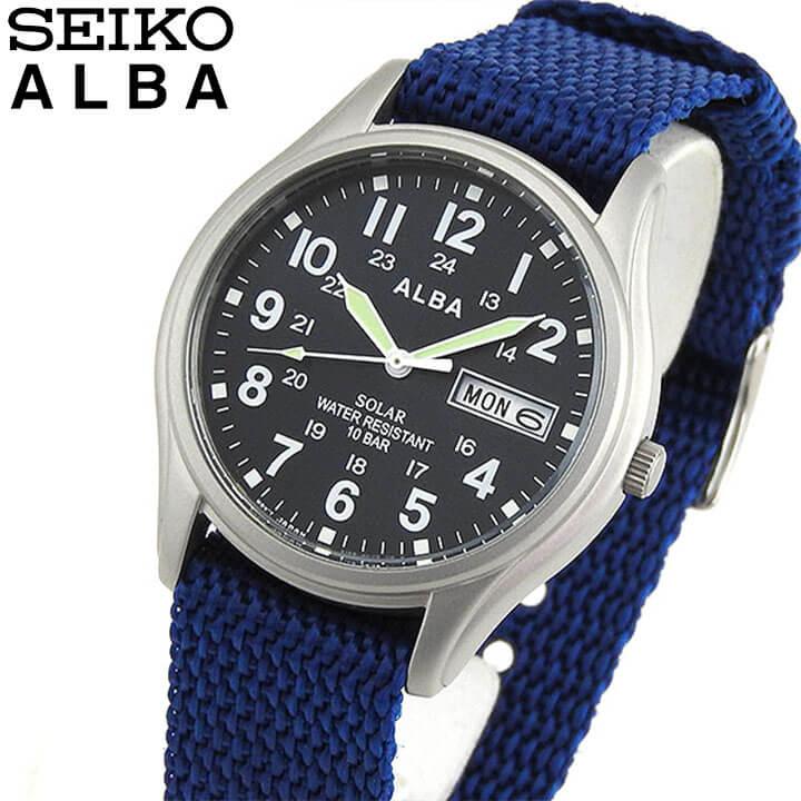 SEIKO セイコー ALBA アルバ AEFD556 国内正規品 メンズ 腕時計 ウォッチ ナイロン ソーラー アナログ 青 ネイビー 誕生日プレゼント 男性 ギフト 商品到着後レビューを書いて7年保証
