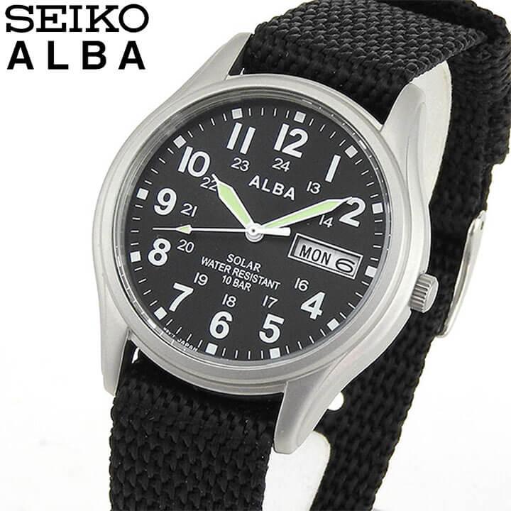 SEIKO セイコー ALBA アルバ AEFD557 国内正規品 メンズ 腕時計 ウォッチ ナイロン ソーラー アナログ 黒 ブラック 銀 シルバー 誕生日プレゼント 男性 ギフト 商品到着後レビューを書いて7年保証