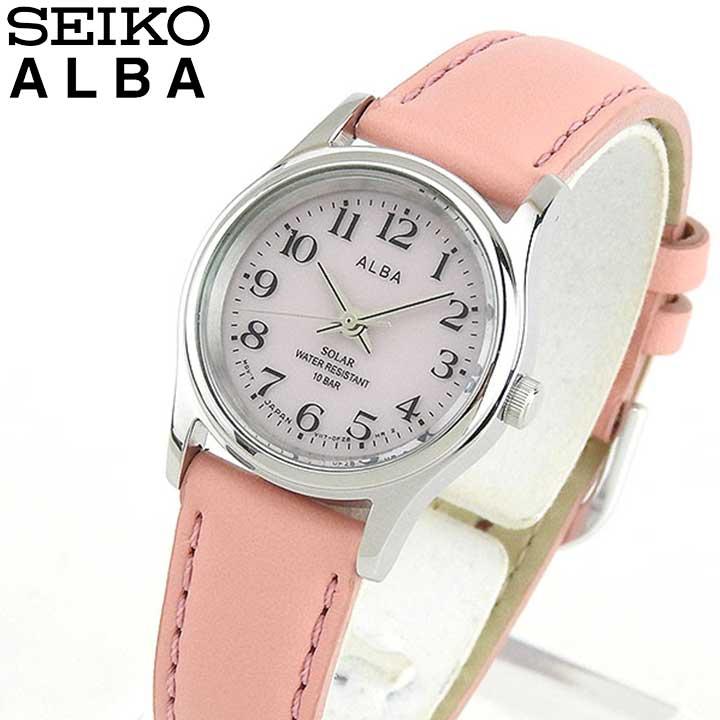 SEIKO セイコー ALBA アルバ AEGD560 国内正規品 レディース レディス 腕時計 ウォッチ レザー バンド ソーラー アナログ ピンク 銀 シルバー 誕生日プレゼント 女性 ギフト 商品到着後レビューを書いて7年保証