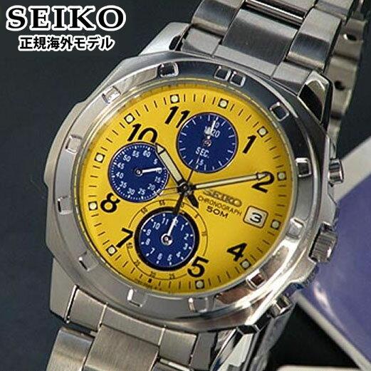 SEIKO セイコー 逆輸入 メンズ 腕時計 クロノグラフ SND409P1 イエロー 正規海外モデル 誕生日プレゼント 男性 父の日 ギフト