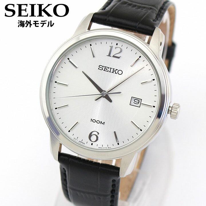 【送料無料】 SEIKO セイコー NEO CLASSIC ネオクラシック SUR265P1 メンズ 腕時計 革ベルト レザー カレンダー クオーツ アナログ 黒 ブラック 銀 シルバー 海外モデル