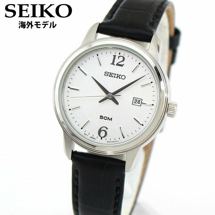 SEIKO セイコー SUR659P1 レディース 腕時計 革ベルト レザー カレンダー クオーツ アナログ 黒 ブラック 銀 シルバー 海外モデル