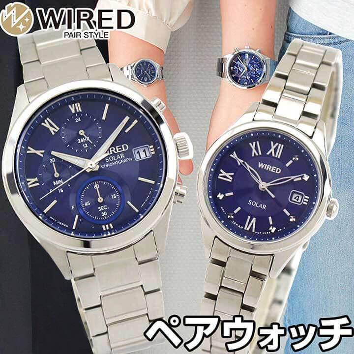 【送料無料】SEIKO セイコー WIRED PAIR STYLE ワイアード ペアスタイル メンズ レディース 腕時計 メタル ソーラー 青 ブルー 銀 シルバー 誕生日プレゼント 男性 女性 ギフト 国内正規品
