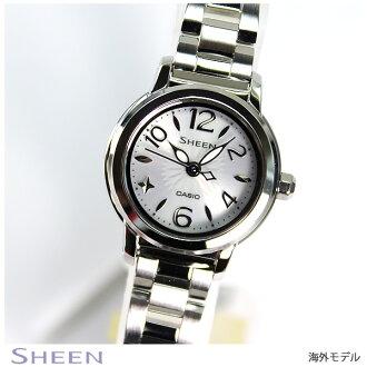 ★ 她-4502SBD-7A 小凱西歐凱西歐手錶手錶女士光澤現場太陽圓面案藍寶石