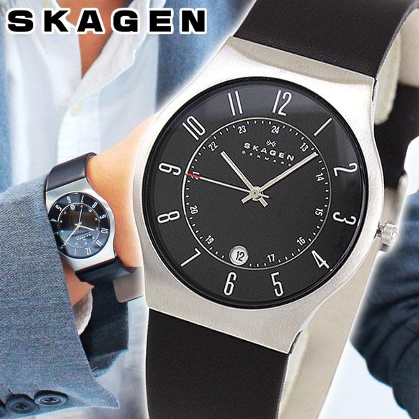 【送料無料】スカーゲン SKAGEN 腕時計 233XXLSLB 北欧デザイン レザーベルト メンズ 海外モデル ブラック 黒 北欧デザイン 誕生日プレゼント 男性 ギフト