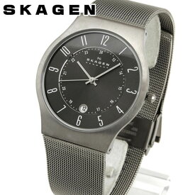 SKAGEN スカーゲン 233XLTTM グレーメンズ 腕時計 チタンケース ステンレスバンド 北欧デザイン 誕生日プレゼント 男性 ギフト