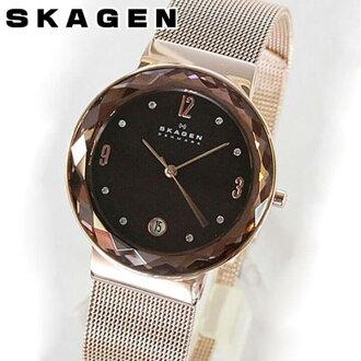 ★ SKAGEN sukagen SKW2068粉红黄金×棕色网丝女士手表钟表