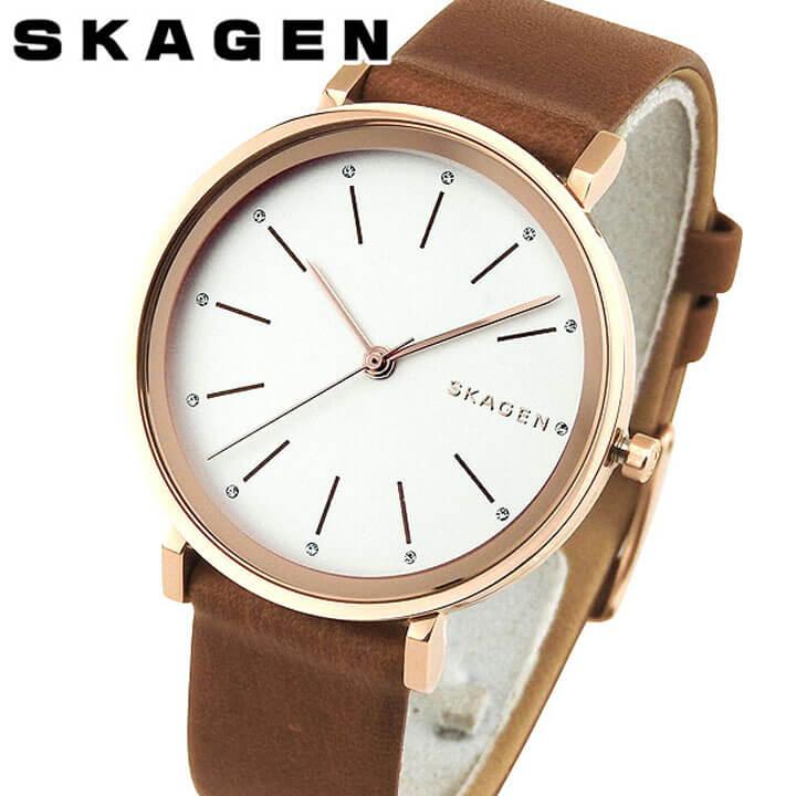 【送料無料】SKAGEN スカーゲン SKW2488 HALD ハルド 海外モデル 北欧 レディース 腕時計 ウォッチ 革ベルト レザー クオーツ カジュアル アナログ 白 ホワイト 茶 ブラウン 誕生日プレゼント 女性 ギフト