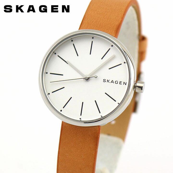 【送料無料】SKAGEN スカーゲン シグネチャー SKW2594 レディース 腕時計 革ベルト レザー 茶 ブラウン 銀 シルバー 誕生日プレゼント 女性 卒業祝い 入学祝い ギフト 海外モデル