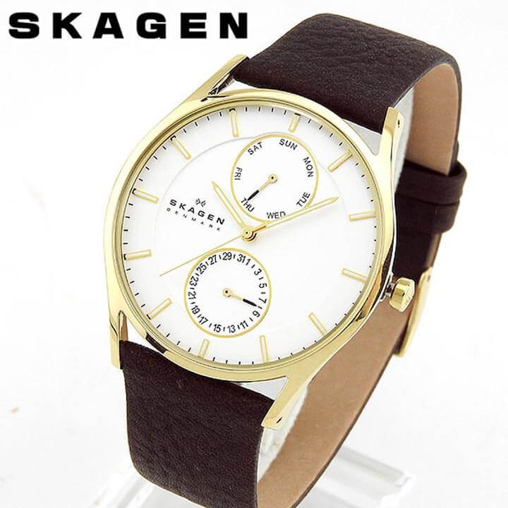 【送料無料】SKAGEN スカーゲン SKW6066 海外モデル メンズ 腕時計 ウォッチ 革ベルト レザー クオーツ アナログ 白 ホワイト 茶 ブラウン 誕生日プレゼント 男性 クリスマス ギフト 北欧デザイン