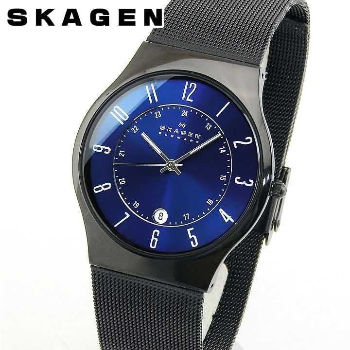 【送料無料】SKAGEN スカーゲン GRENEN グレーネン T233XLTMN メンズ 腕時計 チタン 黒 ブラック ブルー 青 誕生日プレゼント 男性 卒業祝い 入学祝い ギフト 海外モデル