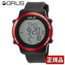 GRUS グルス ウォーキングウォッチ 歩幅計測機能付 GRS001-01 メンズ レディース 腕時計 ユニセックス 黒 ブラック 赤…