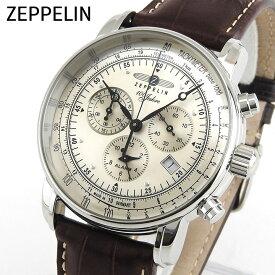 Zeppelin ツェッペリン 100周年記念モデル 7680-1 海外モデル メンズ 腕時計 ウォッチ クロノグラフ 茶 ブラウン 誕生日プレゼント 男性 クリスマス ギフト