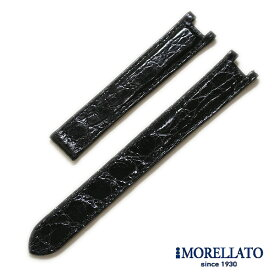 【モレラート】パシャC対応 クロコダイル ブラック ロングサイズ 時計ベルト 18mm