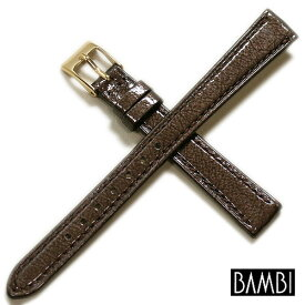 【バンビ】手もみ エナメル カーフ チョコ 時計ベルト 時計バンド