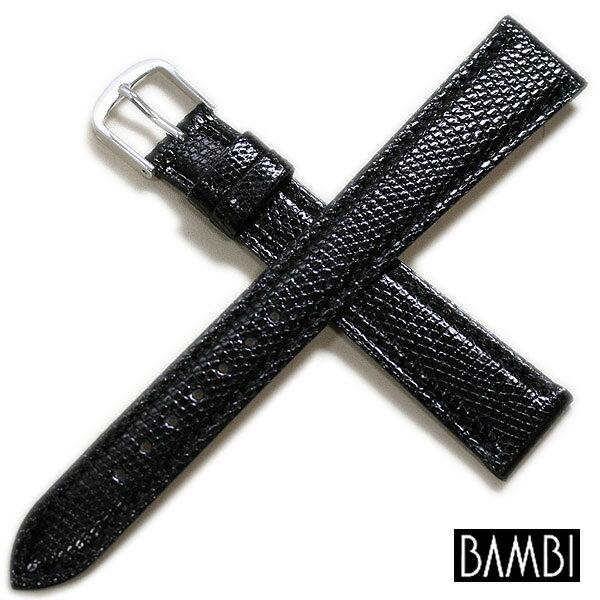 【バンビ】リザード レディース ロングサイズ ブラック/ブラウン 時計ベルト