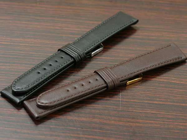 【バンビ】カーフ レディース ロングサイズ ブラック/ブラウン 時計ベルト 時計バンド