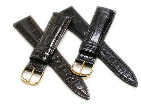 【バンビ】Fコレクション マットクロコダイル(竹斑)裏ラバー ブラック/ブラウン 時計ベルト 時計バンド
