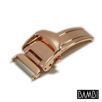 【BAMBI(バンビ)】片開きプッシュ式Dバックルピンクゴールド