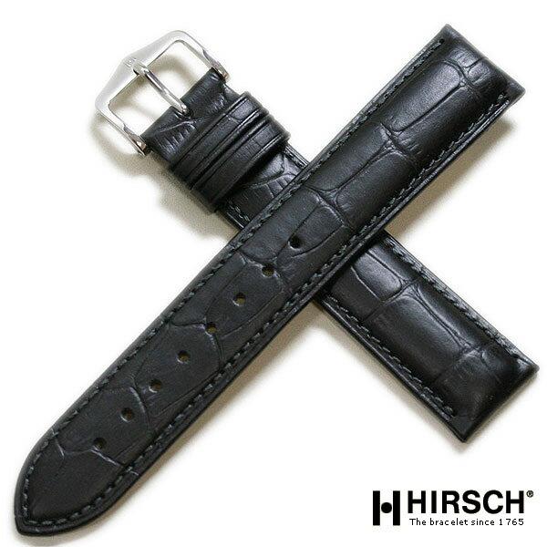 【ヒルシュ】デューク 型押し ブラック/ブラウン ロングサイズ 時計ベルト