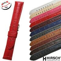 【ヒルシュ】デューク型押しショートサイズホワイト/ブラック/ブラウン/ブルー/グレー/グリーン/ワイン時計ベルト