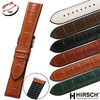 【ヒルシュ】PAULポールカーフ型押し×ラバー時計ベルト時計バンドホワイト/ブラック/ブラウン/グリーン