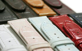 【ミモザ】レディース 型押し P ブラック/ブラウン/キャメル/ワイン/ブルー/ホワイト/レッド/グリーン/モカ 時計ベルト