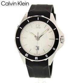 CALVIN KLEIN カルバン クライン CK シーケー 腕時計 時計 メンズ 男性 アナログ クオーツ スイス製 シンプル 3針 日付 デイ PLAY プレイ ビジネス カジュアル 仕事 防水 ラバー ブラック 黒 シルバー 銀 K2W21XD6 プレゼント ギフト 1年保証 送料無料