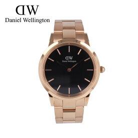 DANIEL WELLINGTON ダニエルウェリントン DW ICONIC LINK腕時計 時計 メンズ クオーツ アナログ 2針 ステンレス メタル ピンクゴールド ブラック DW00100344プレゼント ギフト 1年保証 送料無料