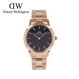 DANIEL WELLINGTON ダニエルウェリントン DW Iconic Link腕時計 時計 メンズ ユニセックス クオーツ アナログ 2針 ステンレス メタル ピンクゴールド ブラック DW00600210プレゼント ギフト 1年保証 送料無料