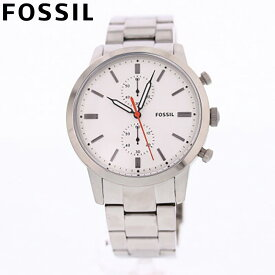 FOSSIL フォッシル 腕時計 時計 メンズ 男性 アナログ クオーツ 電池 クロノグラフ TOWNSMAN タウンズマン カジュアル ビジネス 仕事 防水 ステンレス メタル ブレス シルバー 銀 ホワイト 白 FS5346 プレゼント ギフト 1年保証 送料無料