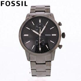 FOSSIL フォッシル 腕時計 時計 メンズ 男性 アナログ クオーツ 電池 クロノグラフ TOWNSMAN タウンズマン カジュアル ビジネス 仕事 防水 ステンレス メタル ブレス シルバー 銀 ブラック 黒 FS5349 プレゼント ギフト 1年保証 送料無料