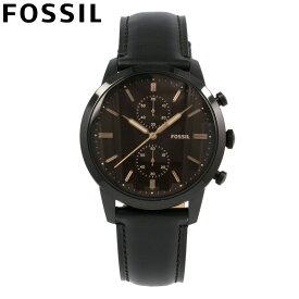FOSSIL フォッシル 腕時計 時計 メンズ 男性 アナログ クオーツ 電池 クロノグラフ TOWNSMAN タウンズマン カジュアル ビジネス 仕事 防水 レザー 革 ブラック 黒 色付きガラス FS5585 プレゼント ギフト 1年保証 送料無料