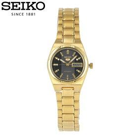 SEIKO セイコー SEIKO5 セイコーファイブ 腕時計 時計 レディース アナログ 自動巻き オートマティック カジュアル 防水 ステンレス メタル ブレス ゴールド 金 ブラック 黒 デイ デイト ルミブライト 夜光 SYM602K プレゼント ギフト 1年保証 送料無料