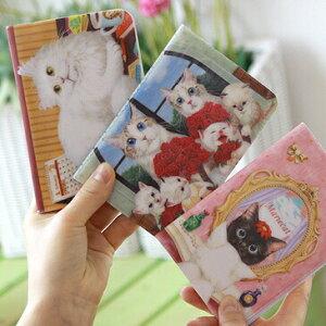 仲良し猫イラスト♪パスポートケース【107-17】mariecat マリエキャット 旅行 カバー 猫 キャット 韓国(1-2)