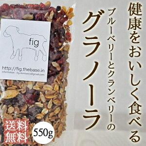 送料無料 ベリーベリーグラノーラ 無添加 オーガニック 素材使用 550g 自家製グラノーラ ギフト 内祝い 国産 ブルーベリー クランベリー ナッツ ドライフルーツ fig