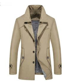 トレンチコート 男性 秋冬用 長袖 メンズ トップス カットソー メンズ メンズファッションシャツ ボダン ジャケット コート 紳士 韓国風 スプリングコート 裏起毛