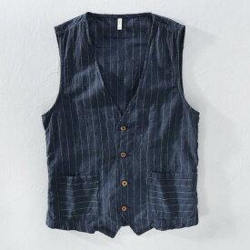 3color 夏用 メンズ 薄手 メンズ ジレベスト カジュアル サマー おしゃれ 大きいサイズ リネン 縦ストライプシャツ