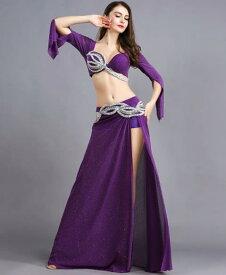 2color 社交ダンス ベリーダンス衣装 フリンジ スパンコール クラーデション レディース 上下セット+腰巻き 3点セット 舞台風 演出