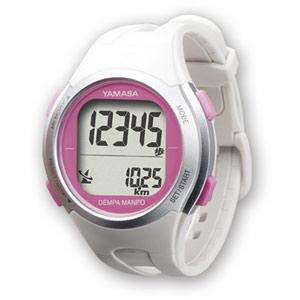 YAMASA ヤマサ 電波時計内蔵・腕時計型歩数計 ウォッチ万歩計 DEMPA MANPO TM-500 W/P ホワイト/ピンク