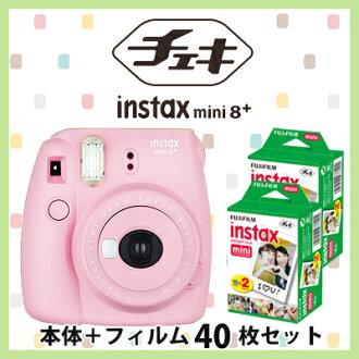 FUJIFILM instant camera cheki instax mini 8plus STRAWBERRY with Plain film 40sheets