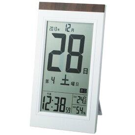 アデッソ 置き掛け兼用 デジタル日めくり電波時計 ホワイト系 ADESSO KW9254