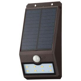 OHM オーム電機 ソーラーセンサーウォールライト200lm 常夜灯付 ブラウン LS-S120FN4-T