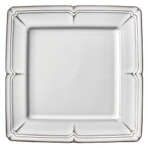 ラフィネ スモークホワイト 20cmスクエアープレート 洋食器 角型プレート 15cm〜25cm 日本製 美濃焼 業務用 ホテル&レストラン おしゃれ プレート 皿 かわいい 四角 ケーキ皿 取り皿 中皿 54-1591