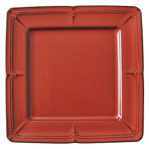 ラフィネ ヴィンテージレッド 20cmスクエアープレート 洋食器 角型プレート 15cm〜25cm 日本製 美濃焼 業務用 ホテル&レストラン おしゃれ プレート 皿 かわいい 四角 ケーキ皿 取り皿 中皿 54-1