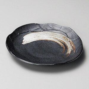 栗色刷毛目塗り壁銘々皿 18cm 和食器 フルーツ皿・銘々皿・取皿 美濃焼 業務用 中皿 和皿  27-214-207-i