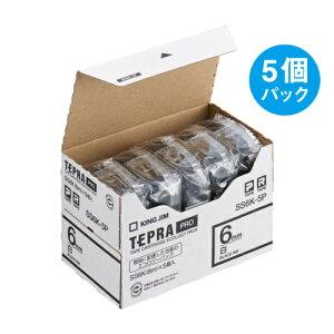 テプラ PRO用テープカートリッジ 白ラベル エコパック 5個入り SS6K-5P [黒文字 6mm×8m]