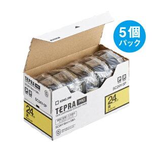 テプラ PRO用テープカートリッジ カラーラベル パステル 黄 エコパック 5個入り SC24Y-5P [黒文字 24mm×8m]