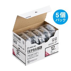 テプラ PRO用テープカートリッジ 白ラベル ロングタイプ エコパック 5個入り SS12KL-5P [黒文字 12mm×16m]