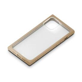 PGA PG-20FGT07BE(ベージュ) iPhone12mini用 ガラスタフケース スクエア型